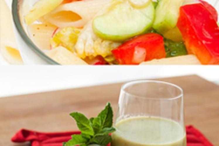 Soupe froide de concombre & menthe accompagnée de sa salade froide de penne