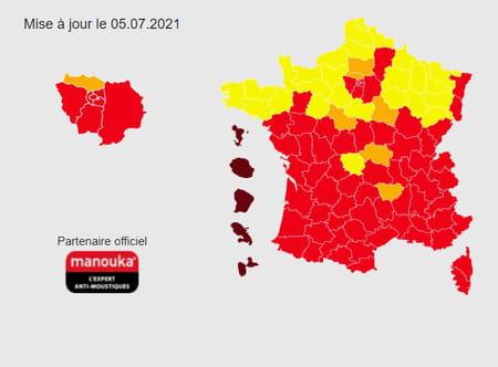 Carte du moustique-tigre en France en 2021