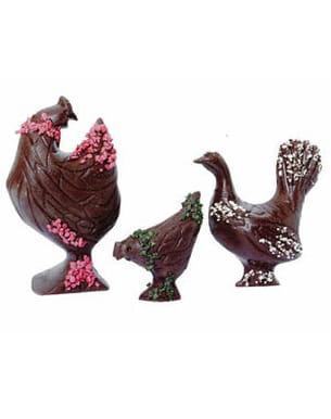 poules décorées en chocolat jadis & gourmande