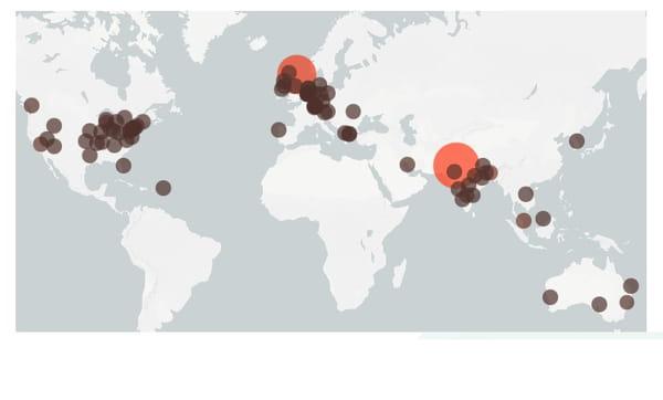 Carte de la présence du variant indien (B.1.617) dans le monde au 30 avril 2021.