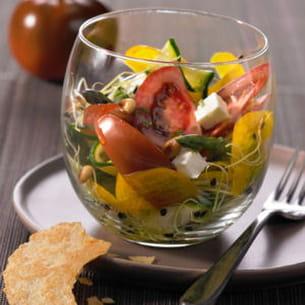 verrine aux tomates, courgettes et graines germées