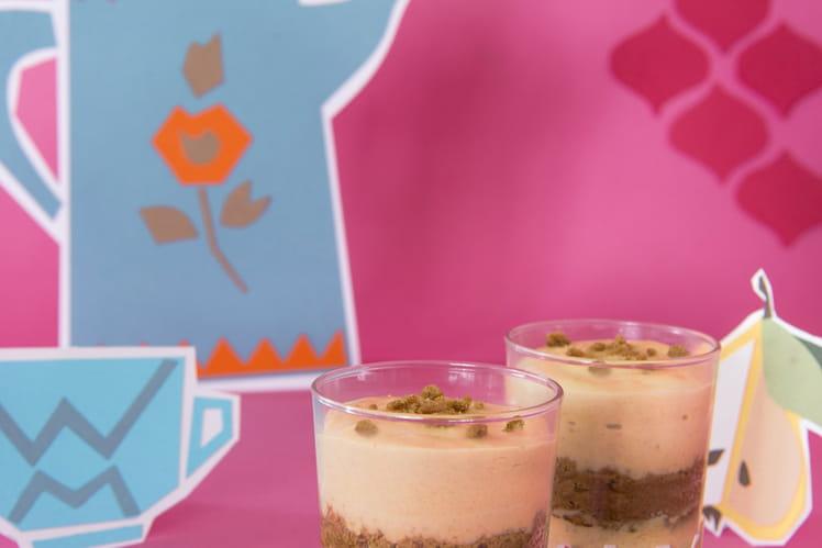 Verrines de mousse au chocolat blanc et spéculoos