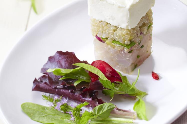 Tartare de bar et quinoa aux épices douces au carré frais