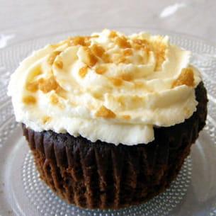 cupcakes choco, sirop d'érable et flocons d'érable