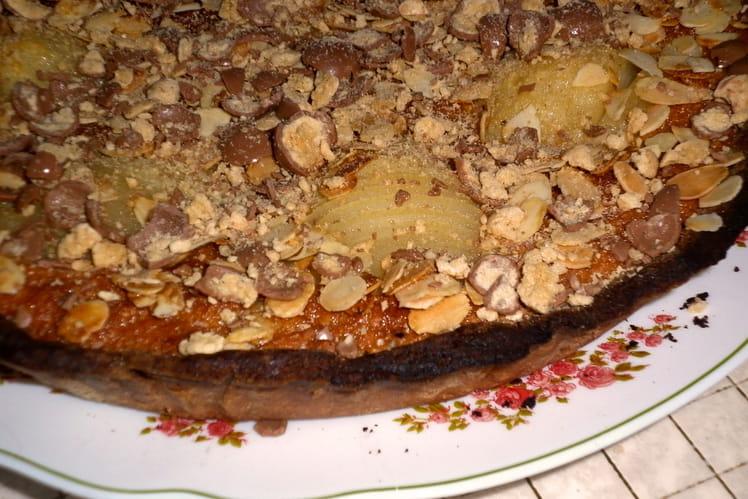 Tarte poire amandine à pâte sablée cacaotée