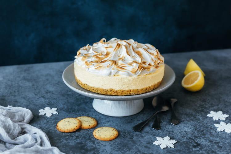 Cheesecake citron meringué aux fines galettes citron pavot