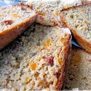 cake au canard fumé, abricot et chèvre
