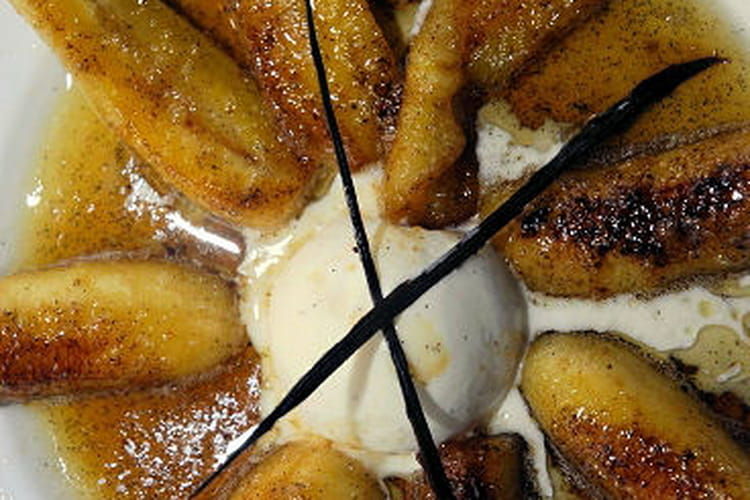 Bananes flambées au rhum et vanille de Tahiti