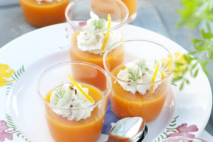 Gaspacho carottes oranges et chantilly de dorade à l'aneth