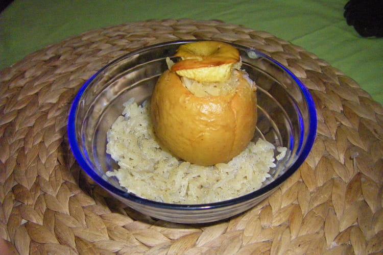 Pommes rôties au riz au lait