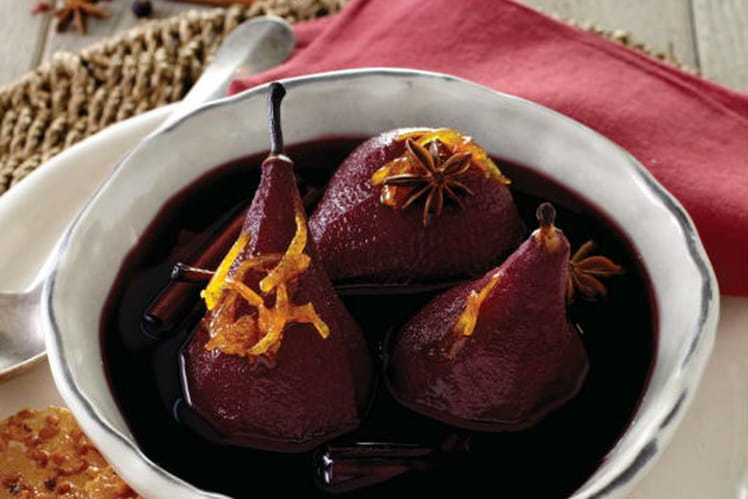 Poire au vin rouge et craquelin à l'orange