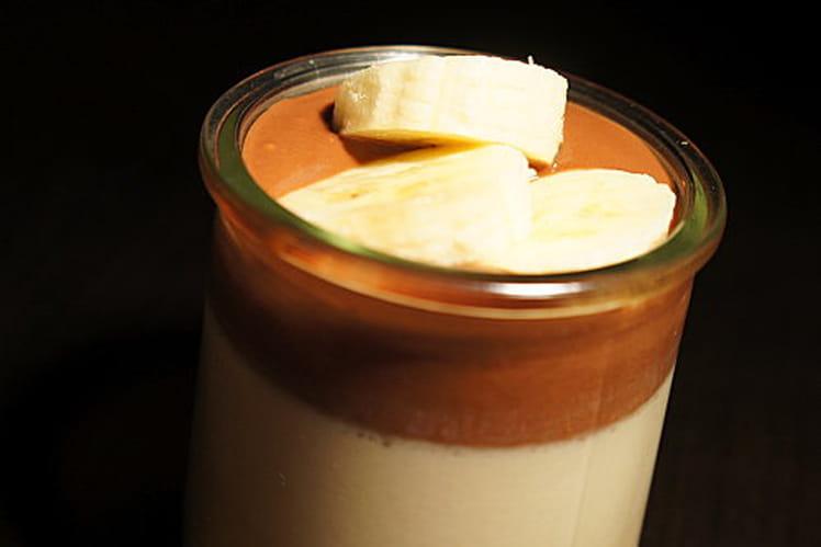 Crème de coco, coulis choco et banane