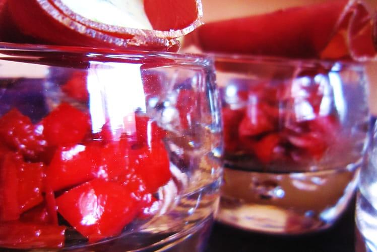 Verrines de poivrons miélés et cannelloni chèvre-roquette