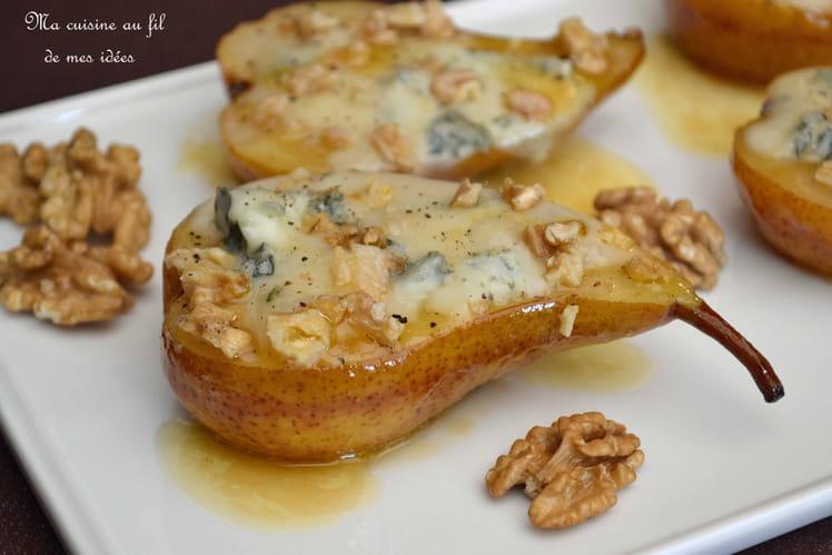 Poires fondantes au miel, noix et gorgonzola