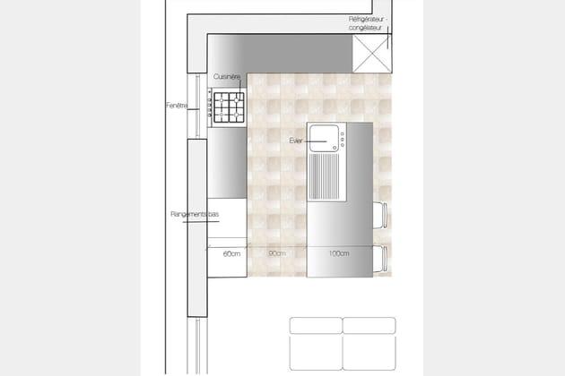 cuisine avec lot central. Black Bedroom Furniture Sets. Home Design Ideas