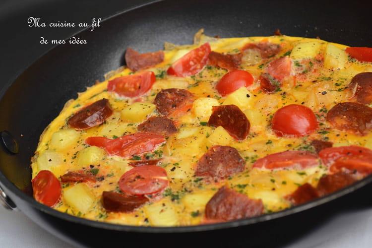 Omelette aux pommes de terre, tomates cerise et chorizo