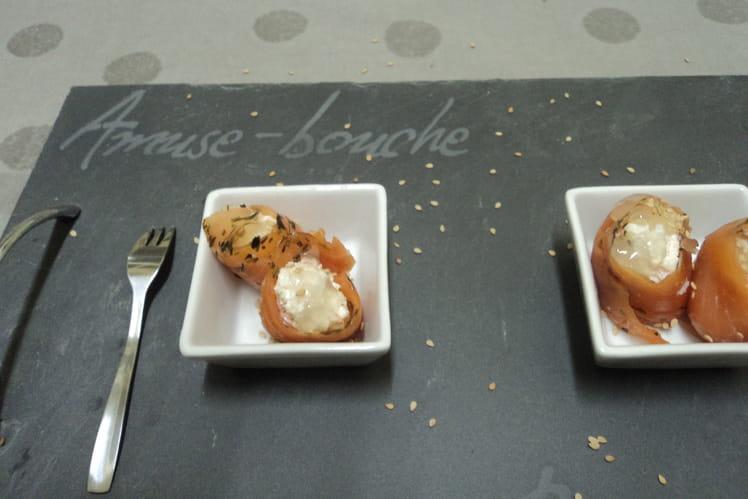 Roulés de truite aux crevettes, gelée de citron