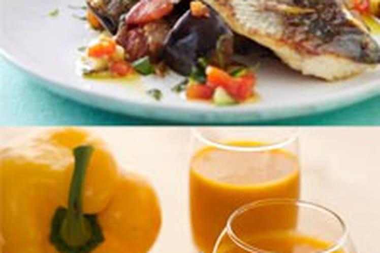 Soupe froide de poivrons doux et épices, accompagnée d'un bar d'été à la provençale