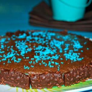 mousse au chocolat sur lit de curaçao