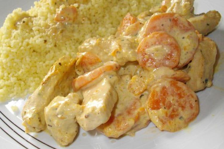 Escalope de poulet aux carottes et à la moutarde
