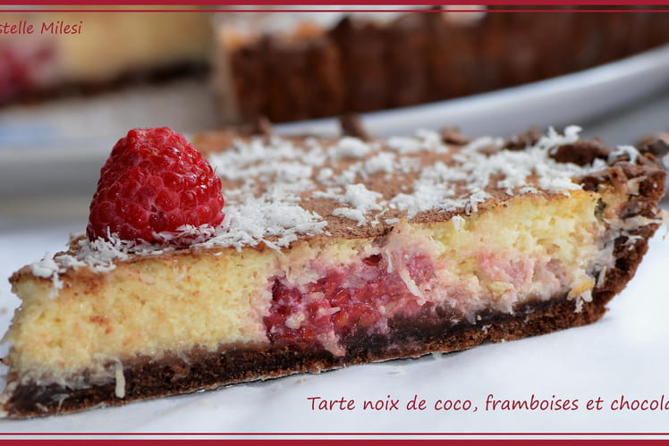 recette de tarte la noix de coco framboises et chocolat la recette facile. Black Bedroom Furniture Sets. Home Design Ideas