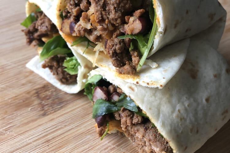 Burrito healthy et express bœuf-haricots rouges