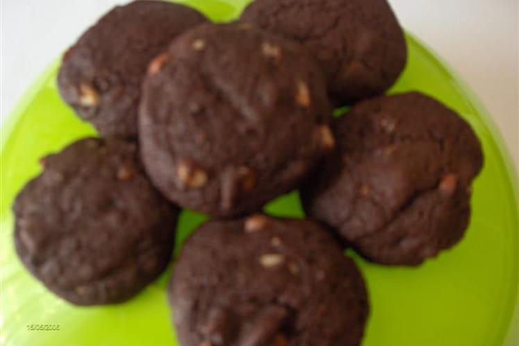 Cookies double chocolat aux noisettes
