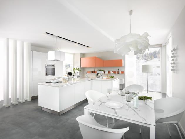 Cuisine e light blanc brillant et terre de sienne de cuisinella - Cuisinella paris 11 ...