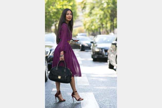 Street looks fashion week haute couture : ultraviolet