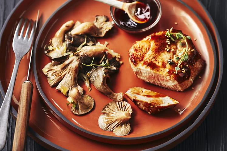 Pavés de veau sauce teriyaki, pleurotes et endives braisées