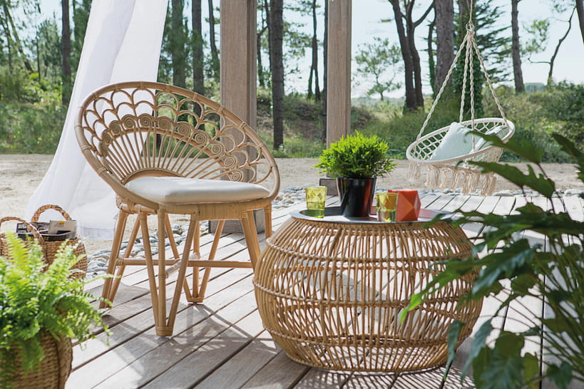 un salon de jardin en rotin pour une ambiance tr s nature. Black Bedroom Furniture Sets. Home Design Ideas