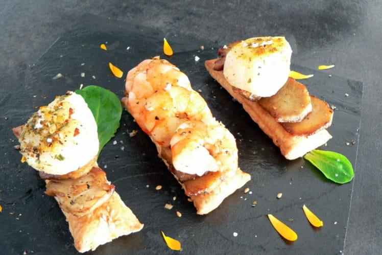 Canapés de crevettes, noix de st Jacques et cèpes