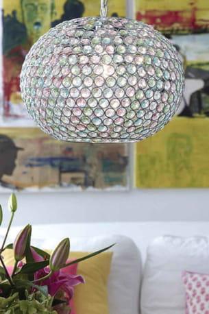 suspension boule en cristaux de verre multicolores queen, de markslojd