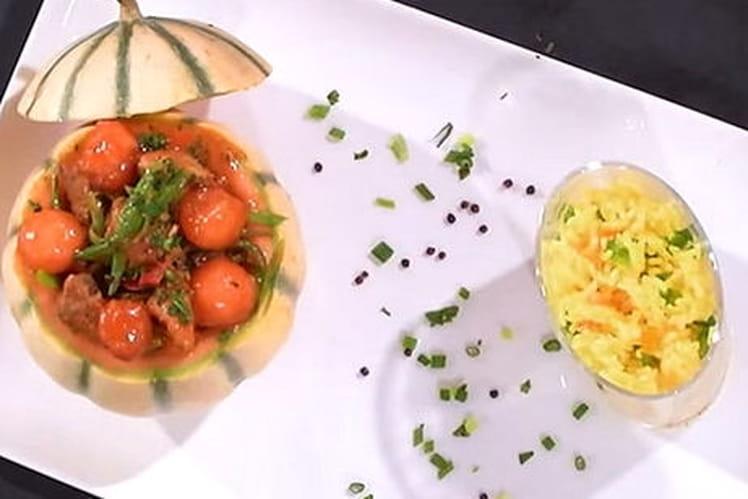 Mijoté de veau au curry rouge billes de melon et lait de coco