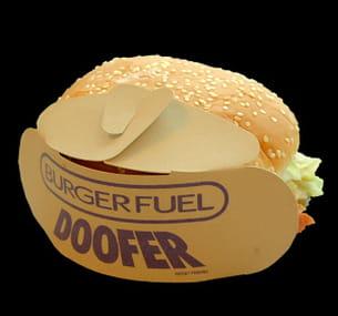 ce porte-hamburger en carton sert aussi de support publicitaire.