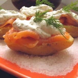 petites patates au saumon fumé