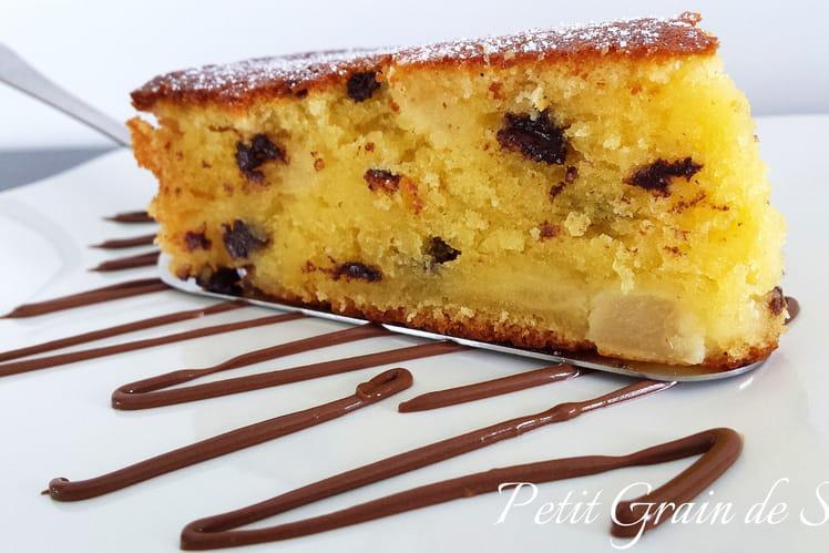 Gâteau moelleux poires chocolat