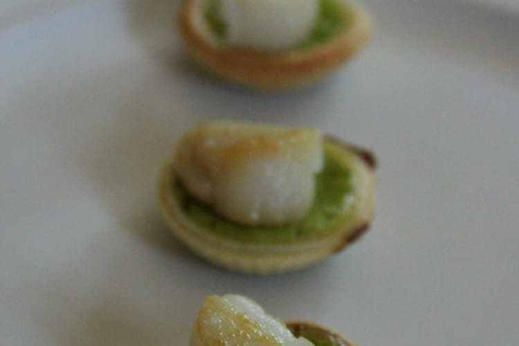 Tartelettes de Saint-Jacques aux petits pois