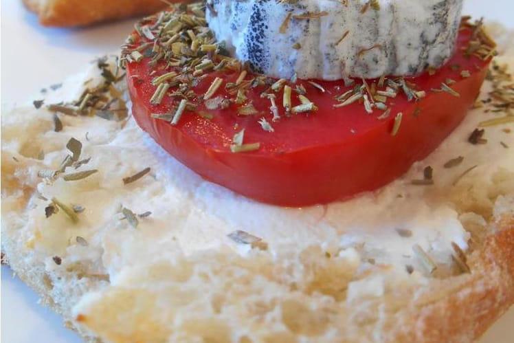 Bruschetta aux tomates et chèvre chaud