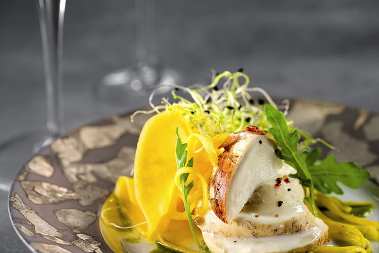Salade Topaze, sauce champagne au thé vert