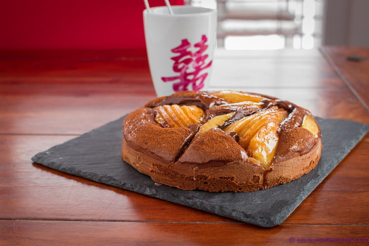 Tarte cake poire-chocolat