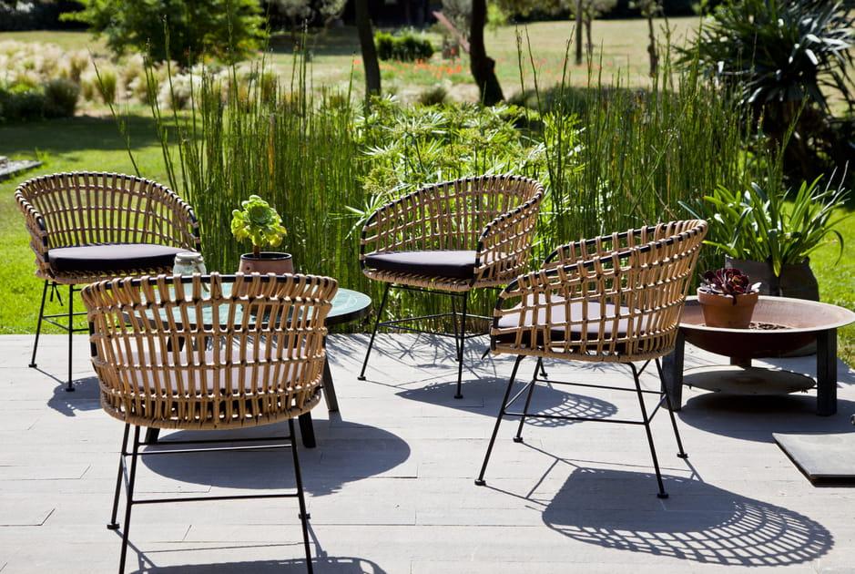 Salon de jardin en bambou tressé