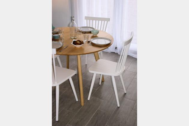 Salle à manger bois et blanc