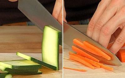découpez les légumes en julienne