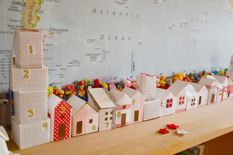Calendrier de l'Avent à fabriquer: des maisonnettes en papier