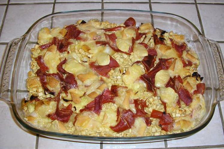 Crozets en gratin au jambon cru et reblochon