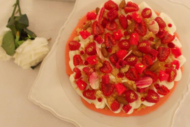 Macaron géant framboise rhubarbe, crème chocolat blanc yaourt