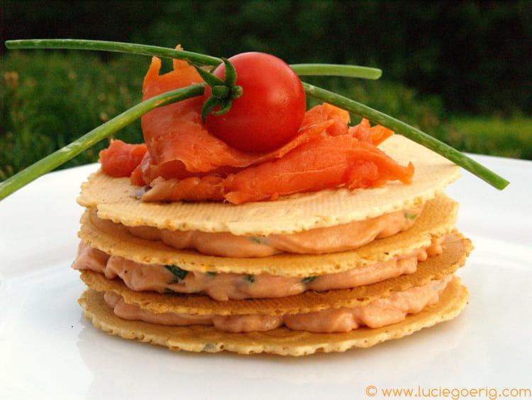 Recette de mille feuille de mousse de saumon la recette for Cuisiner une entree