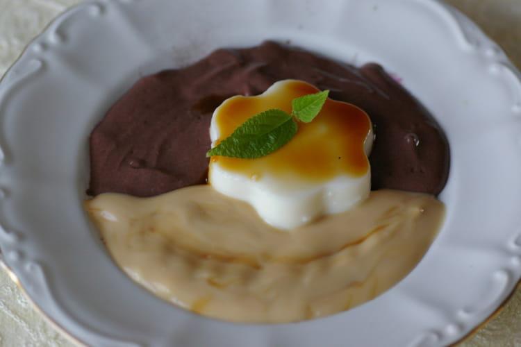Panna cotta, sauce café-chocolat