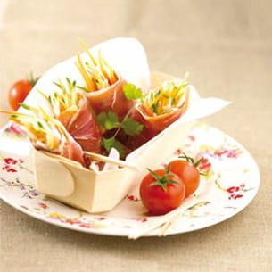nems de jambon sec, julienne de légumes en anchoïade